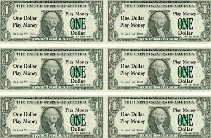 one dolla play money template