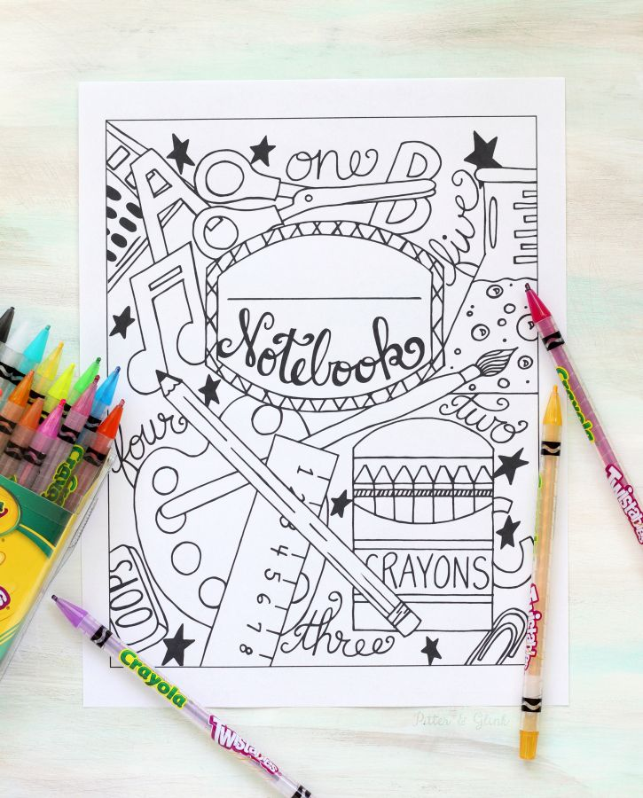 Back To School Notebook Cover Printable Coloring Page Printable