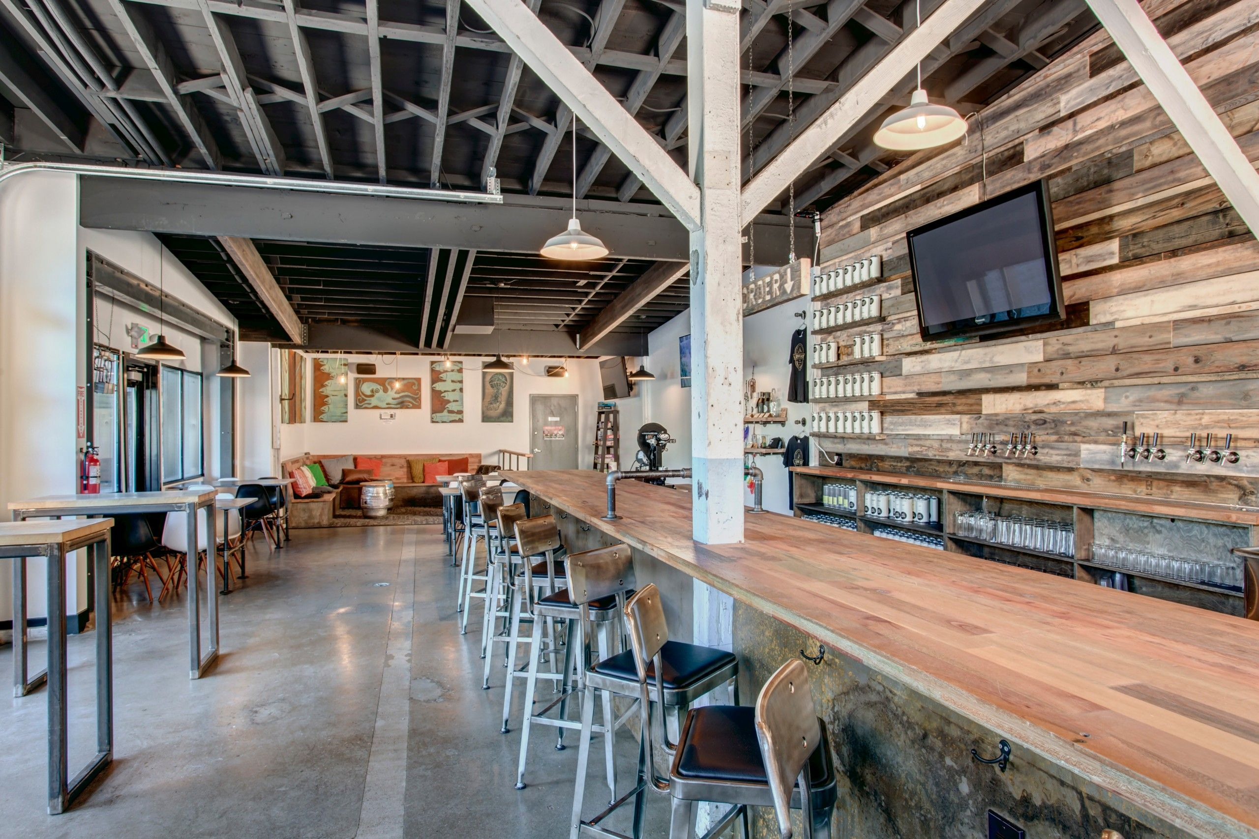 Lowercase Brewery Taproom An Open Ceiling Lets The Texture And Cadence Of The Joists Add To The Feel Of The Bar Tap Room Brewery Interior Brew Pub