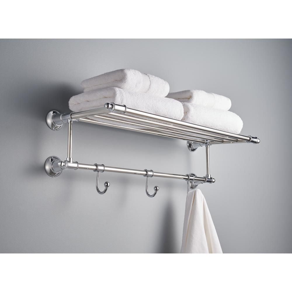 Delta 24 in. Towel Shelf with 3 Towel Hooks in Polished Chrome