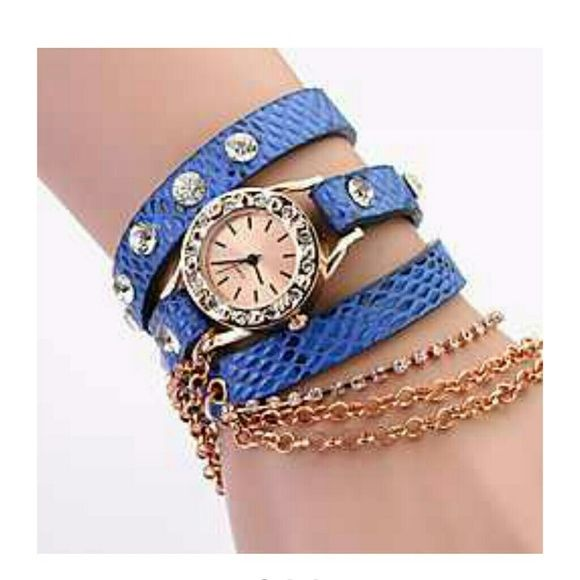 Chain watch Koshi Women's Metal Chain Diamonade 3 Round Litchi Leather Watch (Royal Blue) Koshi Accessories Watches