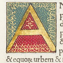 """Decorated initial """"A"""" from Scriptores historiae Augustae."""