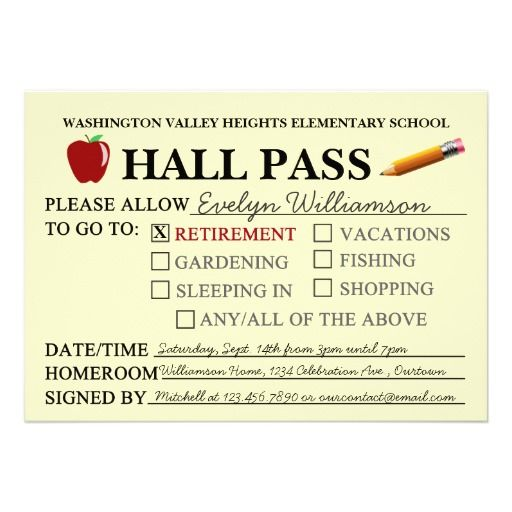 Retro Hall Pass Teacher Retiring Party Invitation  Teacher