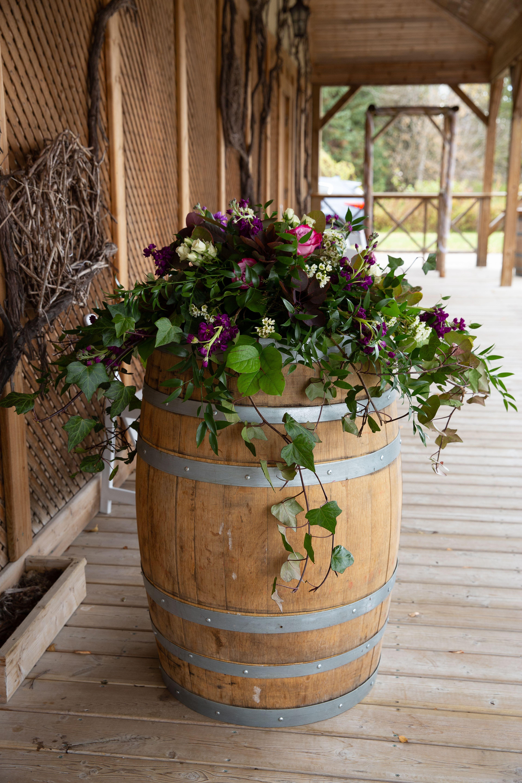 Rustic wine barrel wedding decor #pureblissweddings # ...