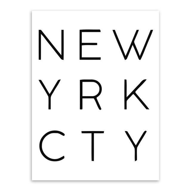 New York City Noir Blanc Typographie Minimaliste Affiche A4 Nordique