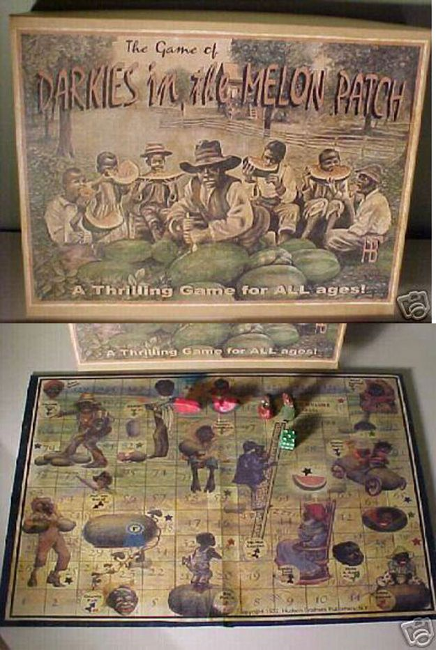 """""""Darkies in the Melon Patch,"""" published by The Hudson Brothers Publishing Company   13 Horribly Offensive Board Games Of The Past"""