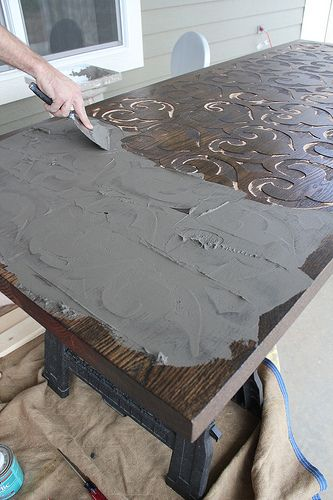 This Is A Cool Project They Used Cnc To Carve The Table And Filled Carved Parts With Cement