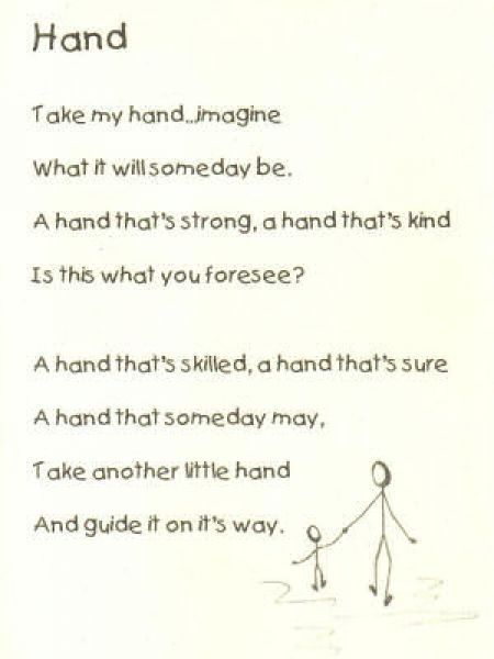 Short Mothers Day Poems For Kindergarten Handprint Poem For