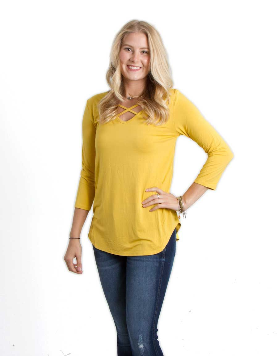 1059819b5c Piko Tops Criss Cross Three Quarter Sleeve Shirt in Mustard GLT181043- MUSTARD