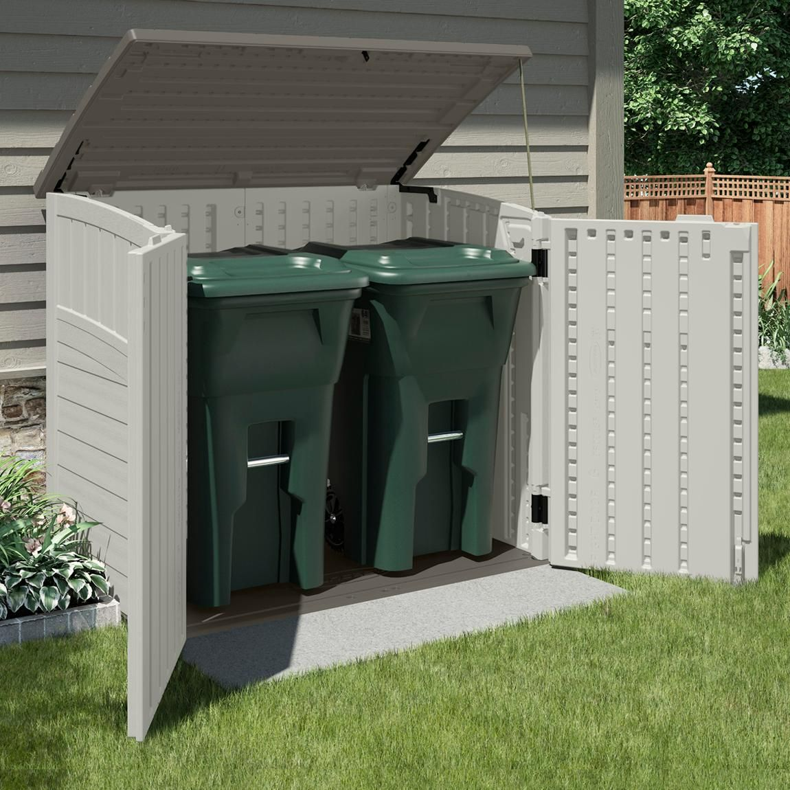 an outdoor storage shed is ideal for storing garbage cans lawn