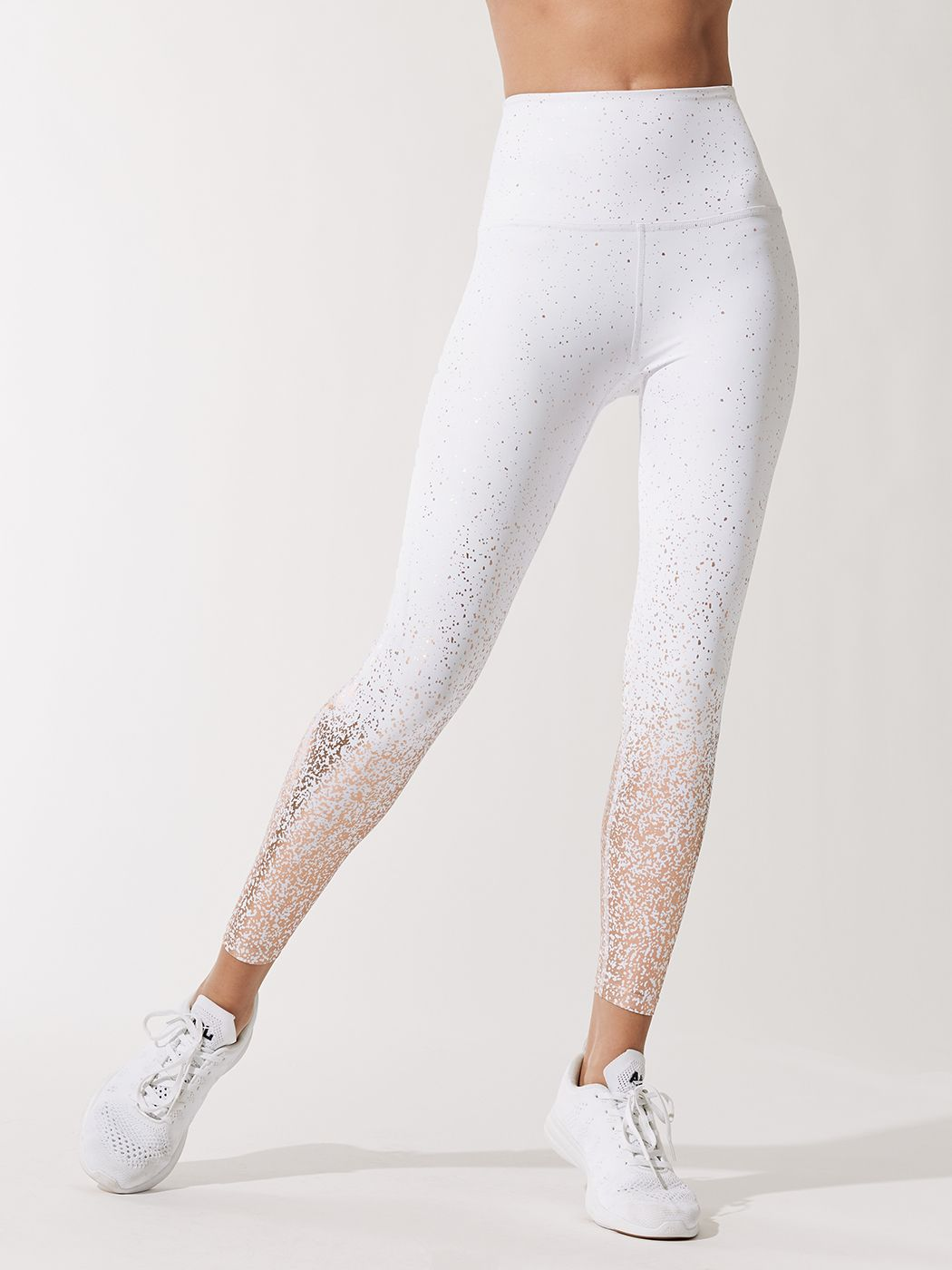 57887870f9c9b1 Alloy Ombre High Waisted Midi Leggings in Black-white Rose Gold Speckle by  Beyond Yoga from Carbon38; Get 20% off with your first purchase of $100+  with ...