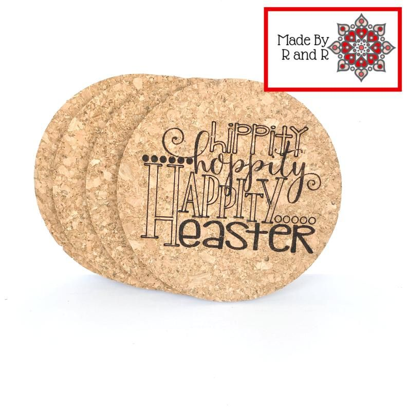 Hippity Hoppity Happity Easter Coasters Perfect For Easter Set Of 4 In 2020 Custom Coasters Cork Coasters Coasters