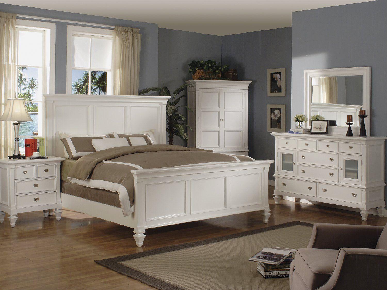 Summer Breeze Queen White Panel Bedroom Suite White