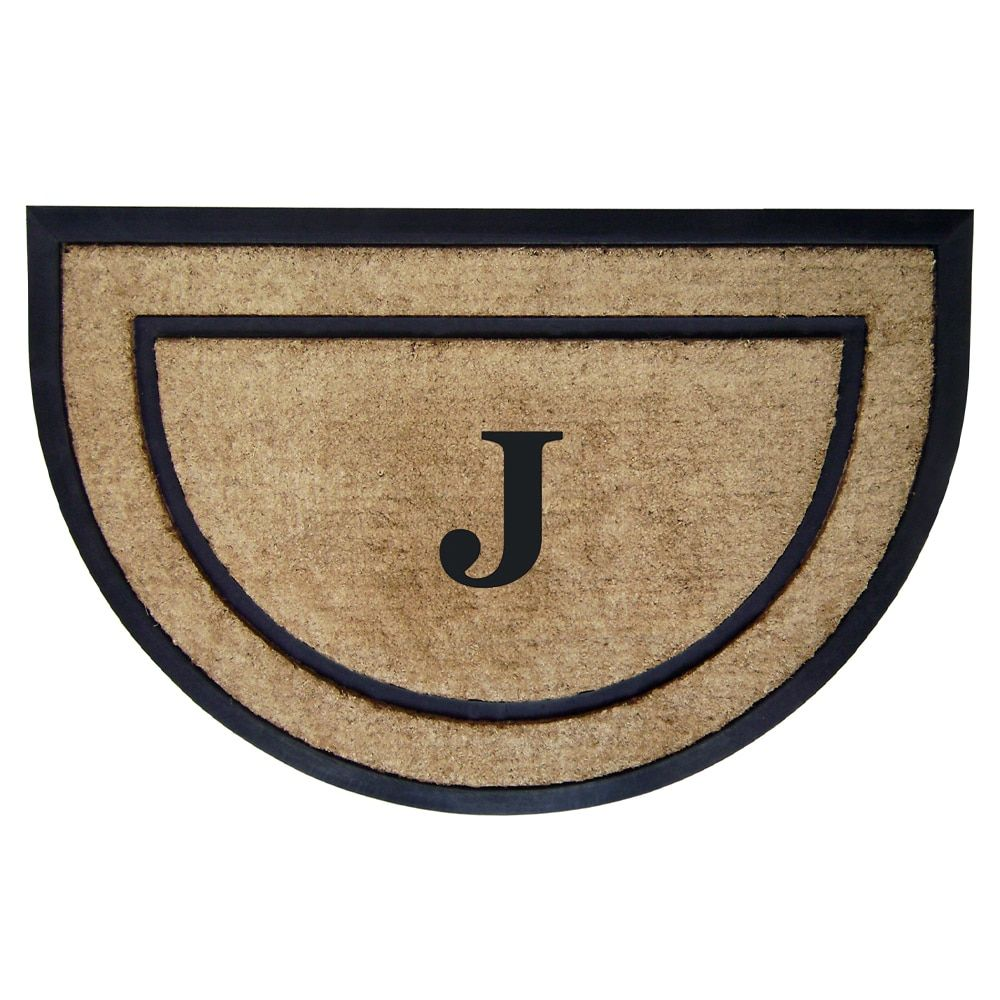 "Enterprises Black and Brown Coir and Rubber Framed Doormat (2' x 3') (24"" x 36"" Mat Monogrammed J, Half Round), Size 2' x 3', Outdoor Décor"