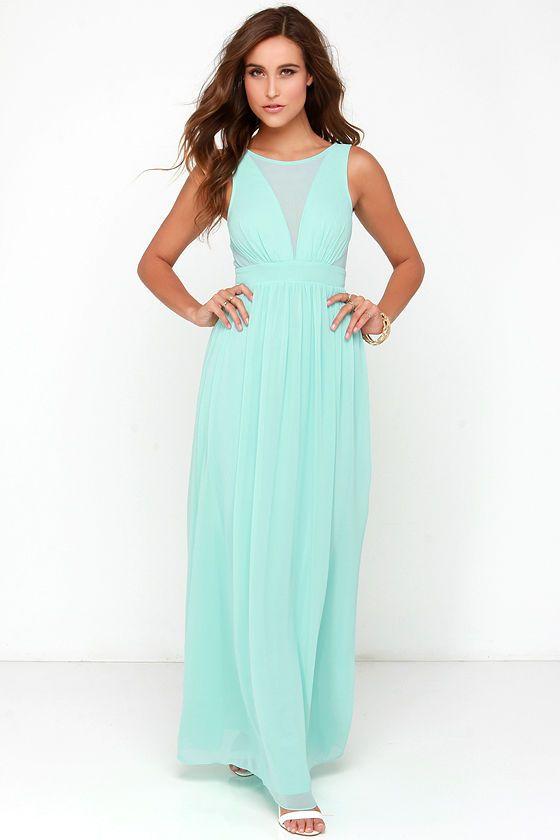 Long mint maxi dresses