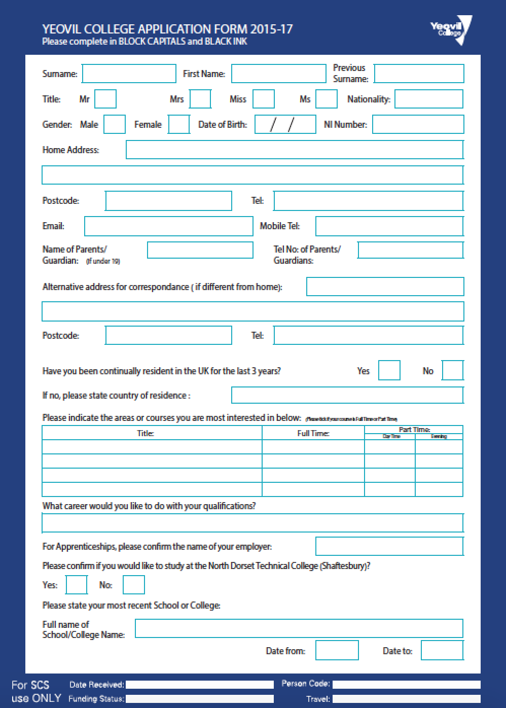 Yeovil College  Application Form  Solicitud