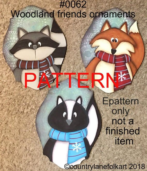 Painting pattern, woodland animals Christmas ornaments, tole painting pattern, fox painting pattern, Christmas ornament pattern, skunk, #tolepainting
