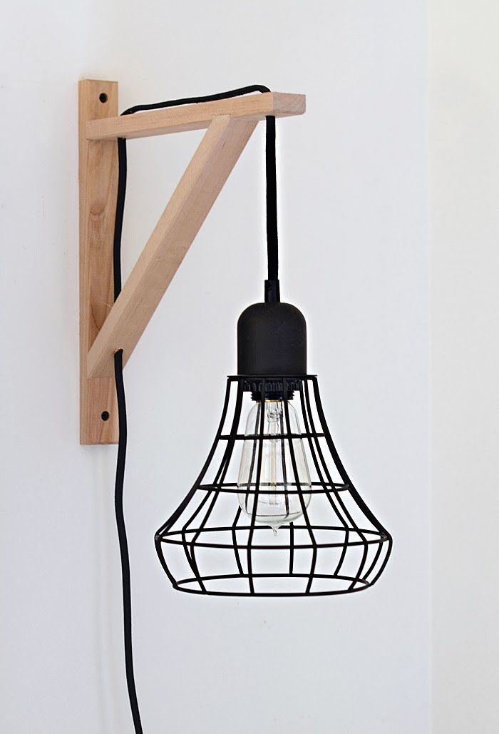 Diy cage light sconce a clever idea using the threshold industrial plug in pendant and an ikea ekby valter bracket how to from nalles house