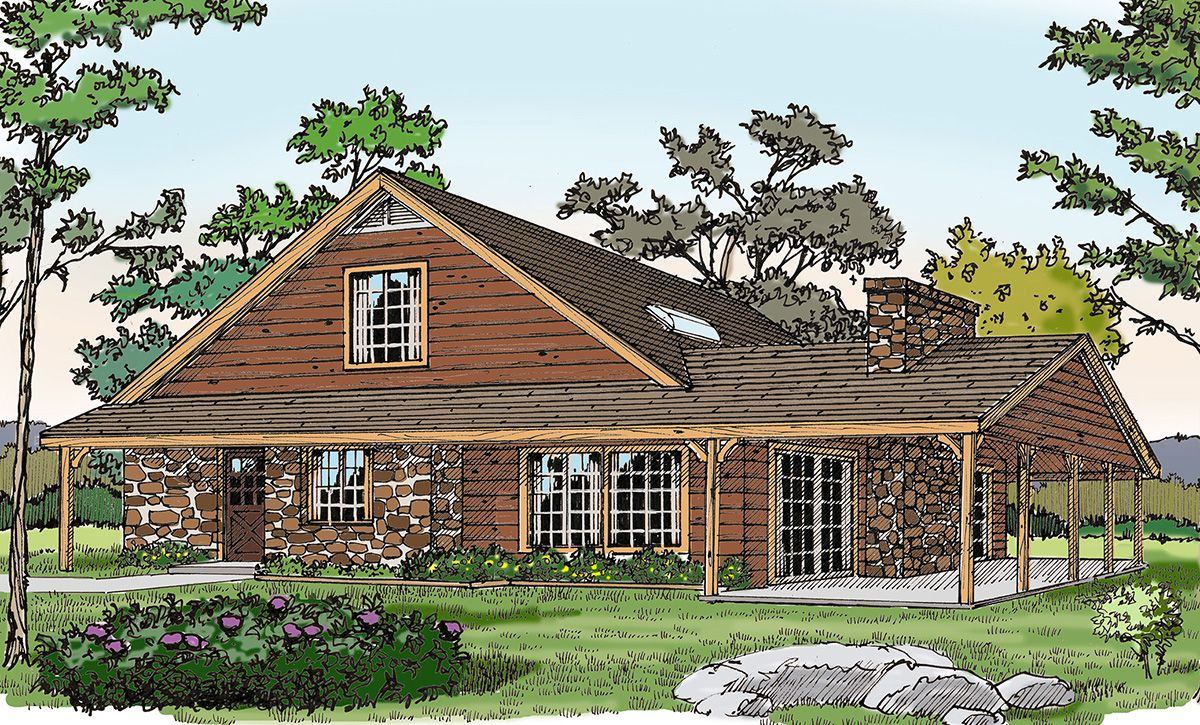 2 story master bedroom  Plan JA Rustic Vacation Home with a Big Porch  Porch Master