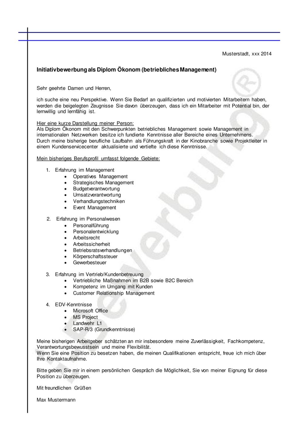 Muster Anschreiben Betriebliches Management