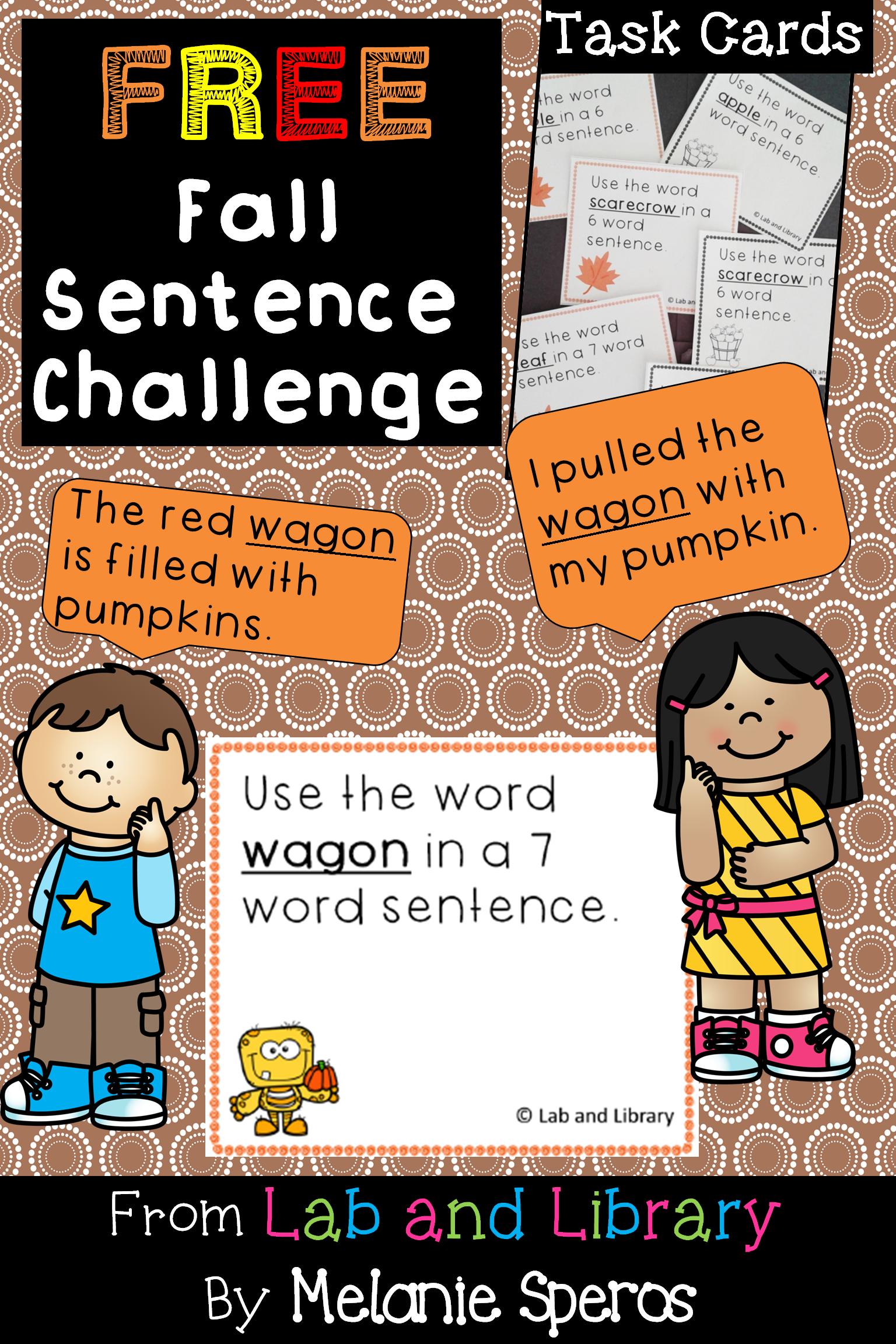 Free Oral Language And Writing Activity With A Halloween Fall Theme 12 Task Cards 1 Recording Sheet Halloween Sentences Writing Practice Writing Activities [ 2304 x 1536 Pixel ]