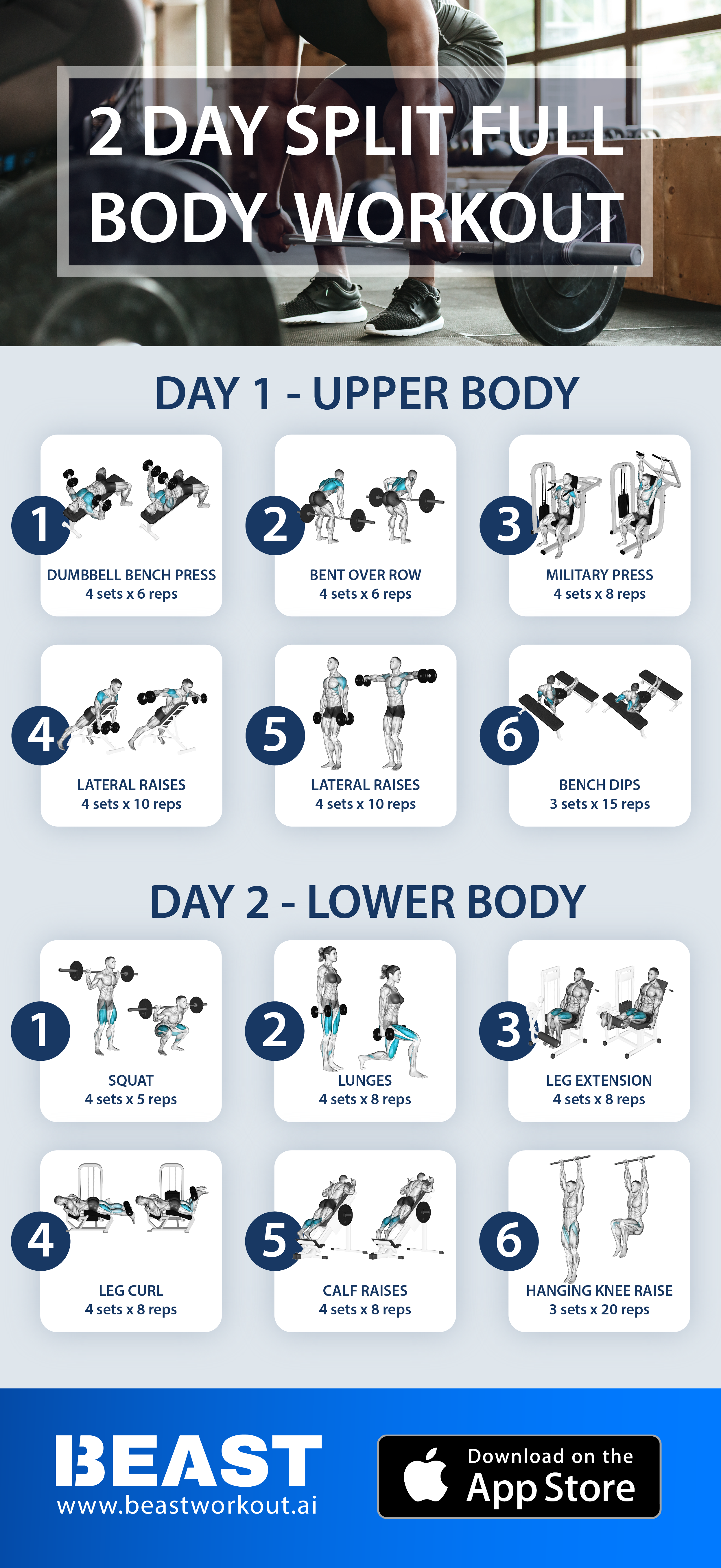 Essential Full Body Workout 2 Day Split Full Body Workout Routine Best Full Body Workout Full Body Workout Program
