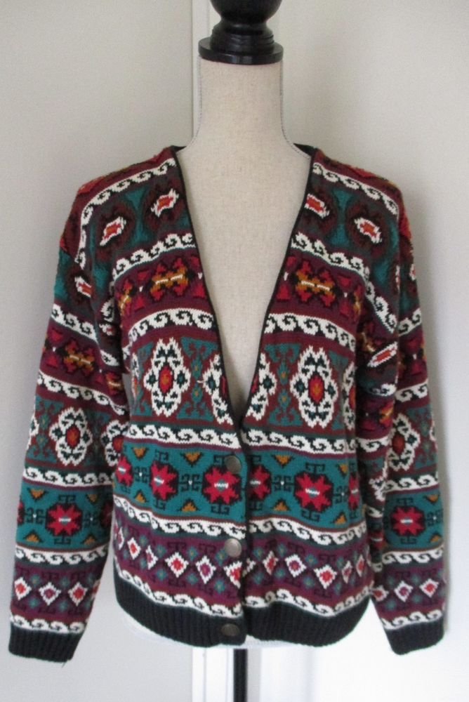 Eddie Bauer Native Aztec Printed Knit Cardigan Sweater Sz S Womens Vintage 1991 #EddieBauer #Cardigan