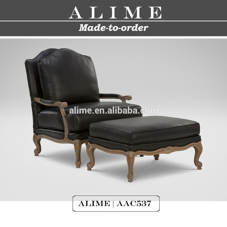 Alime furniture AAC537 french black vintage leather chair with foot stool #Black_French, #Furniture
