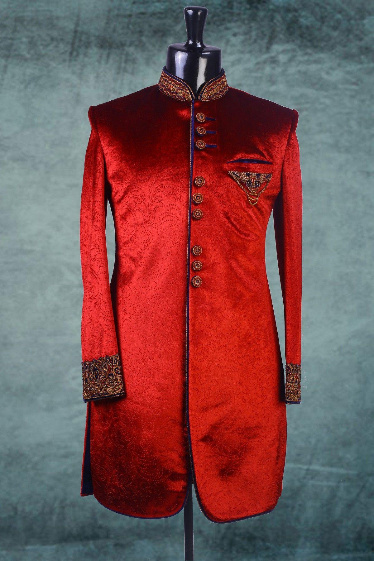 Red velvet embossed indowestern sherwani iw men ethnic