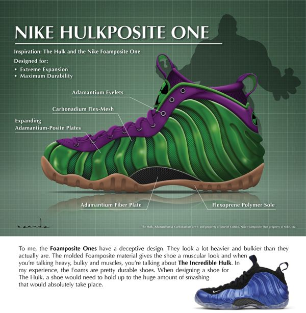 b579bbf37675e Nike Foamposite I Inspired by the  Incredible Hulk