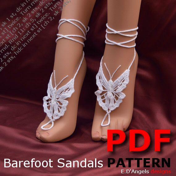 Barefoot Sandals Crochet Pattern Foot Jewelry Butterfly Di