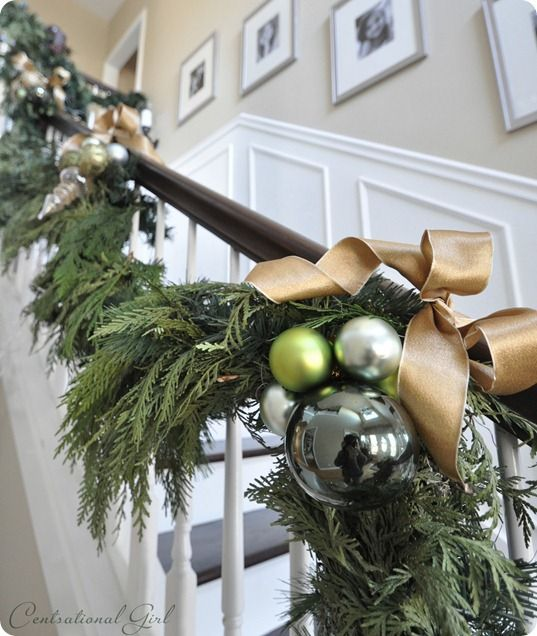 how to hang garland on your banister banisters garlands and christmas decor - Banister Christmas Garland Decor