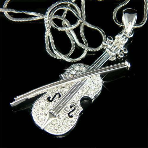 Swarovski crystal music musical fiddle violin bow charm chain swarovski crystal music musical fiddle violin bow charm chain necklace jewelry jewellery christmas birthday best friends musican gift new aloadofball Choice Image