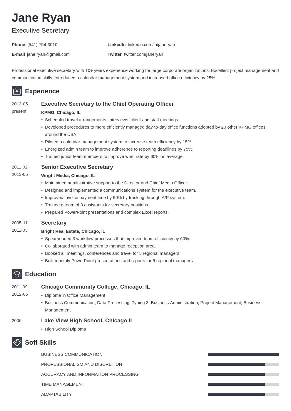 secretary resume example template newcast in 2020 Resume