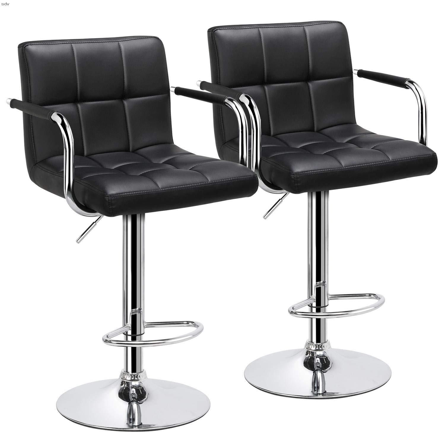 Yaheetech Bar Stools Set Of 2 Black Adjustable Counter Stools Bar Chairs Synthetic Leather Modern Design Swivel Barstools Gas Lift Stools For Kitchen Counter 36 Di 2020