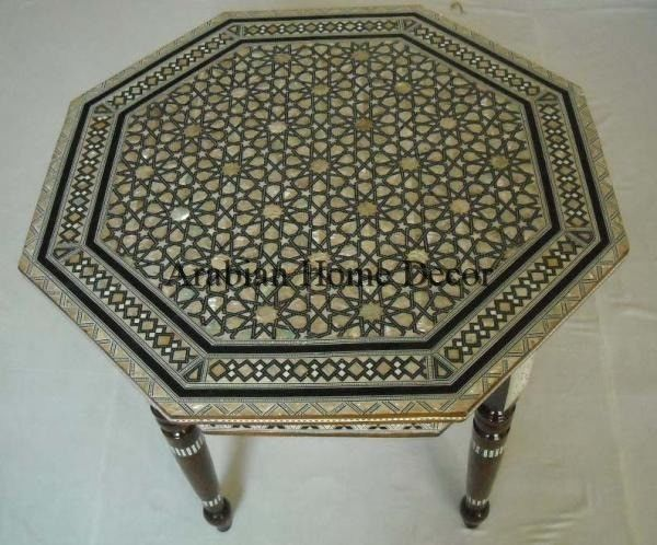 """Egyptian Moroccan 24/"""" Height Mother of Pearl Inlay Wood Coffee Side End Table"""