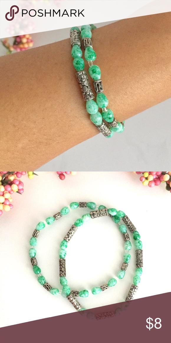 🔹Bracelets🔹 set of 2 Handmade stretch bracelets, metal, glass and plastic beads. Mint green and silver. New, never worn. Jewelry Bracelets