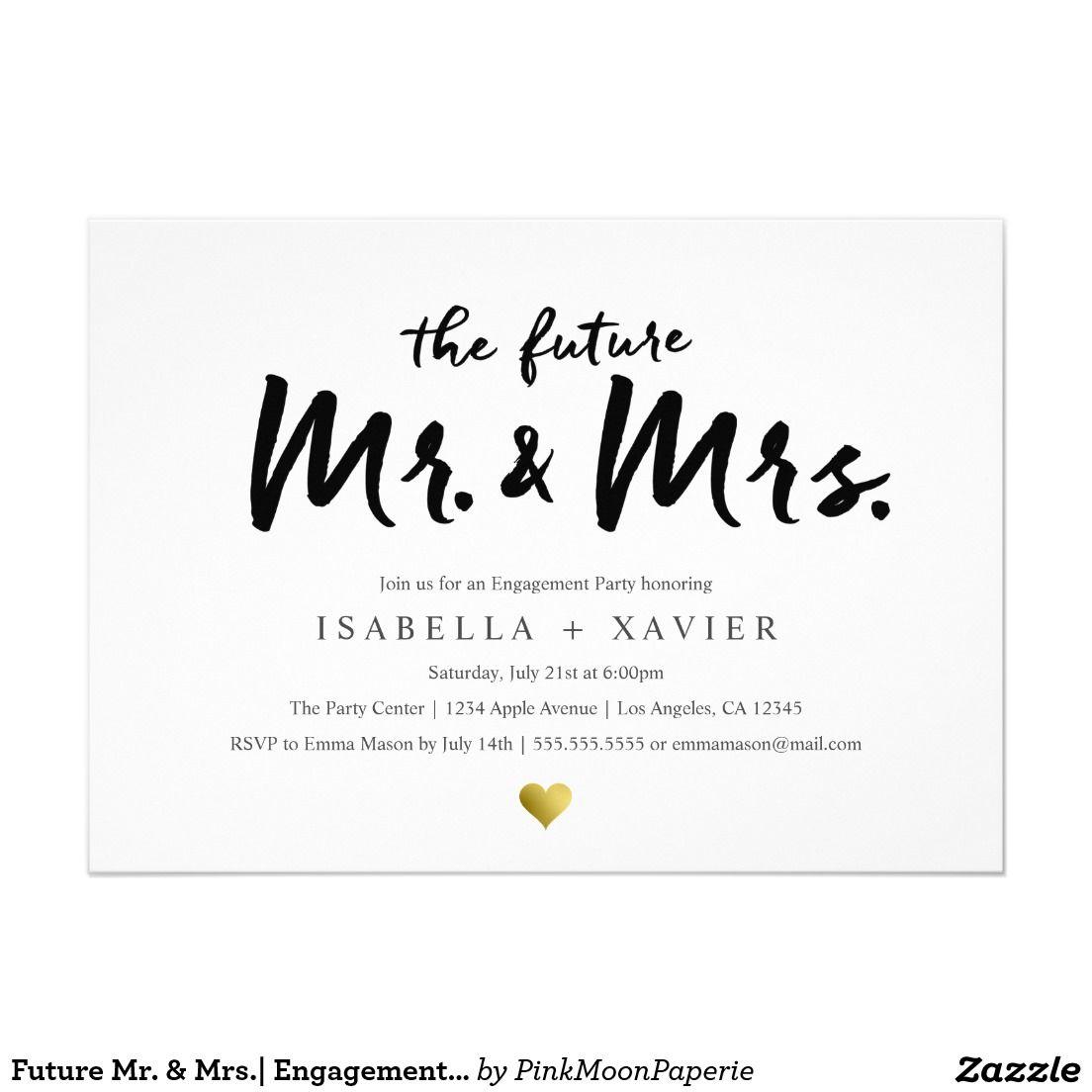 Future Mr. & Mrs. | Engagement Party Invite | Engagement, Future ...