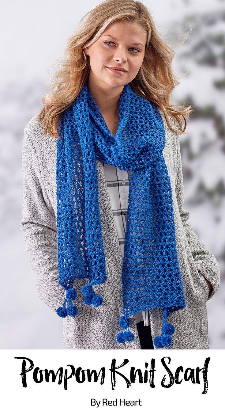 Pompom Knit Scarf free knit pattern in Heart & Sole yarn ...