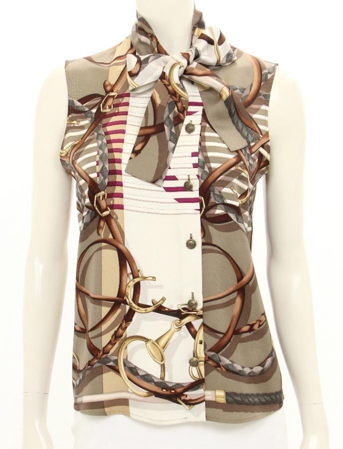 Gucci Horsebit Silk Print Sleeveless Blouse Size 42 #Gucci #ButtonUp