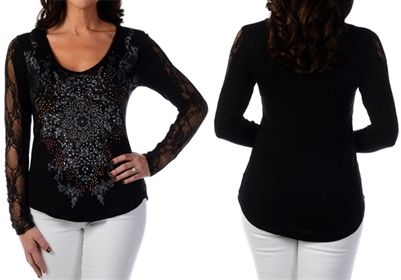 Liberty Wear Medallion Burst Lace Sleeve Top  Women's black V-neck top embellished with sheer lace long sleeves and an ornate medallion print with rhinestones.  2X, 3X