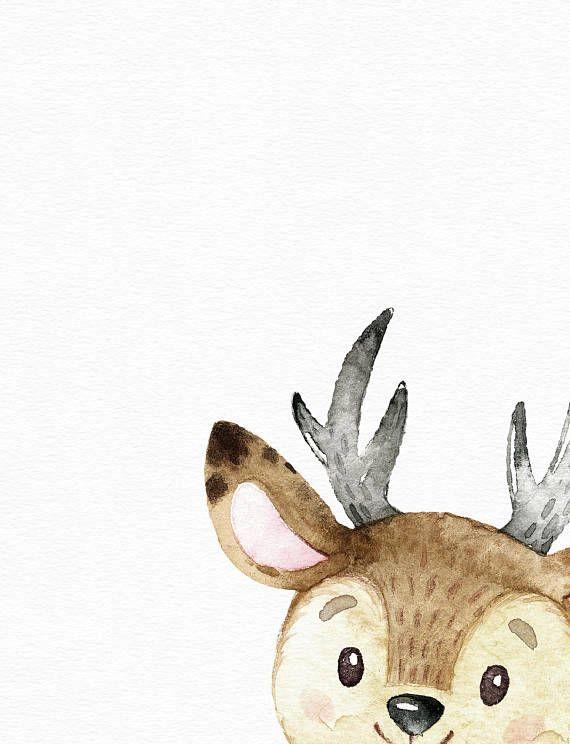 Woodland animal art - Watercolor deer print - Nursery wall art - Cute baby girl art - Watercolor