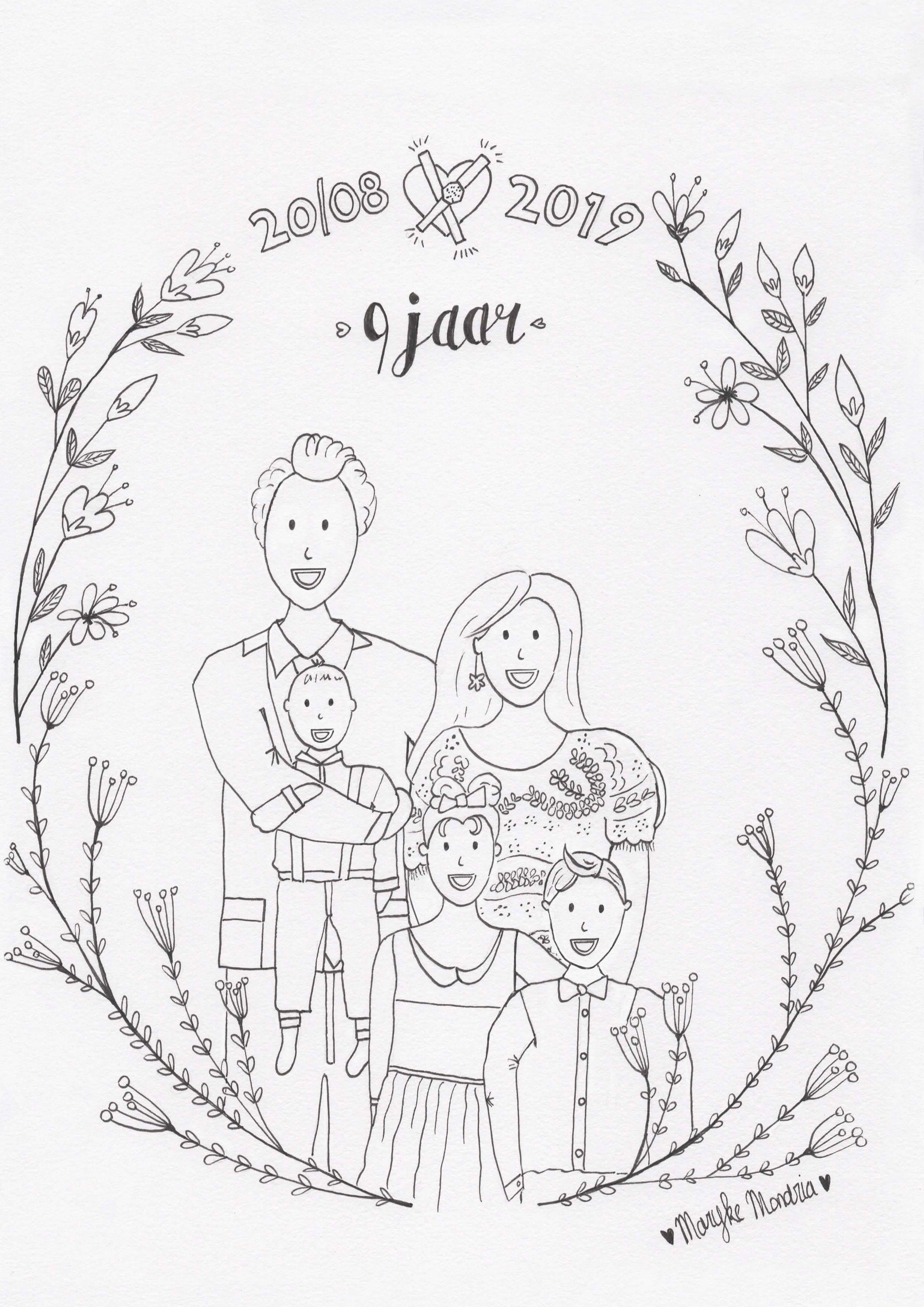 9 Jaar Getrouwd Getekend Familieportret Kleurplaat Familieportret Kleurplaten Digitale Illustraties