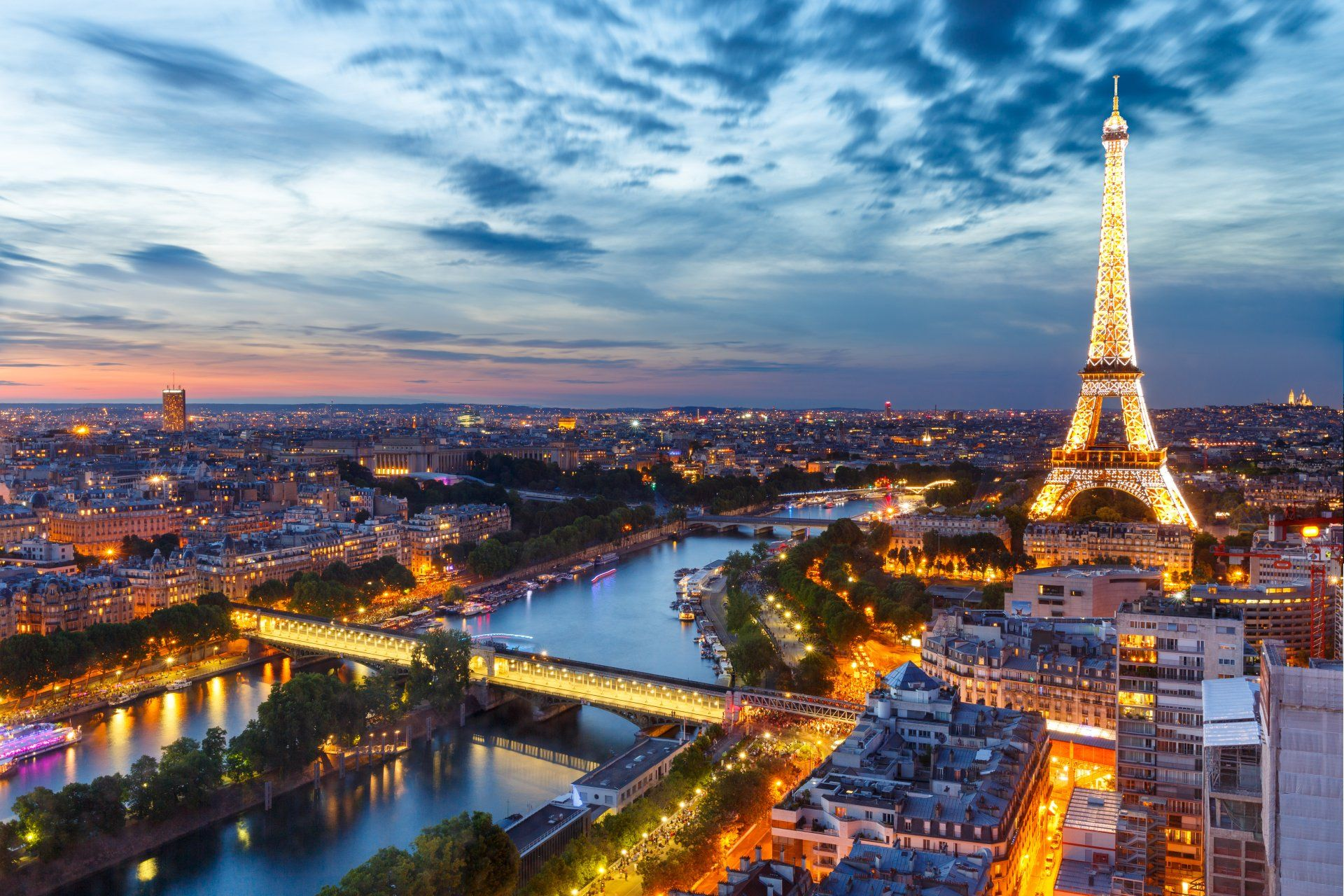 Man Made Paris Night Light Eiffel Tower City Cityscape France River Sky Horizon Building Wallpaper