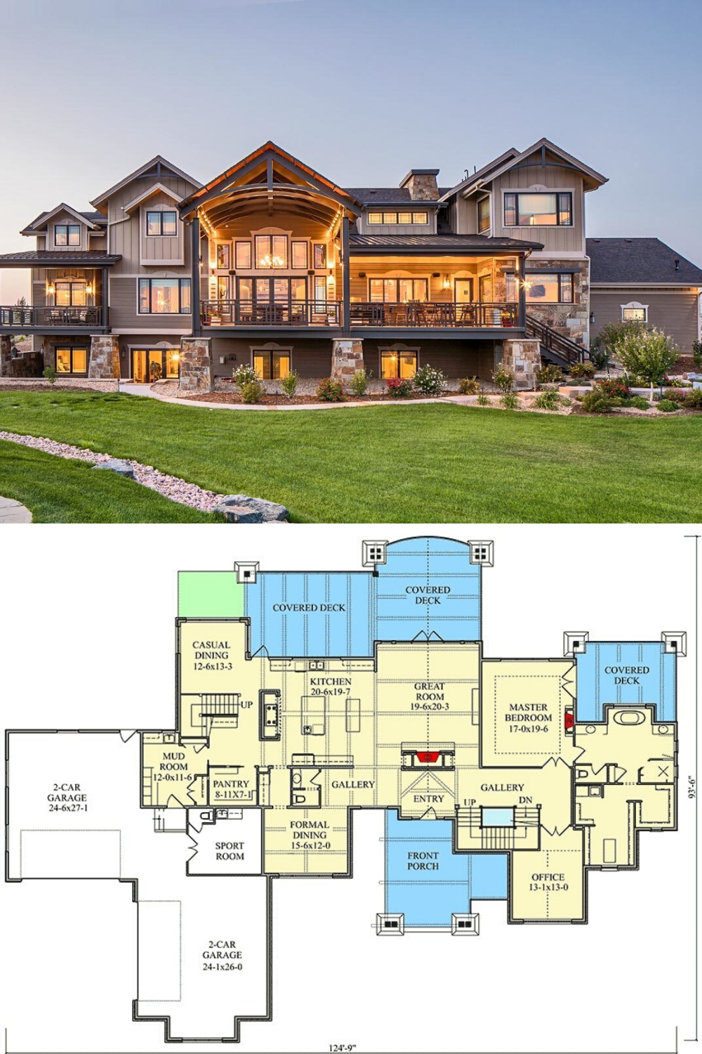 4 Bedroom Two Story Mountain Home With First Floor Primary Suite Floor Plan House Plans Mansion Mansion Floor Plan House Blueprints