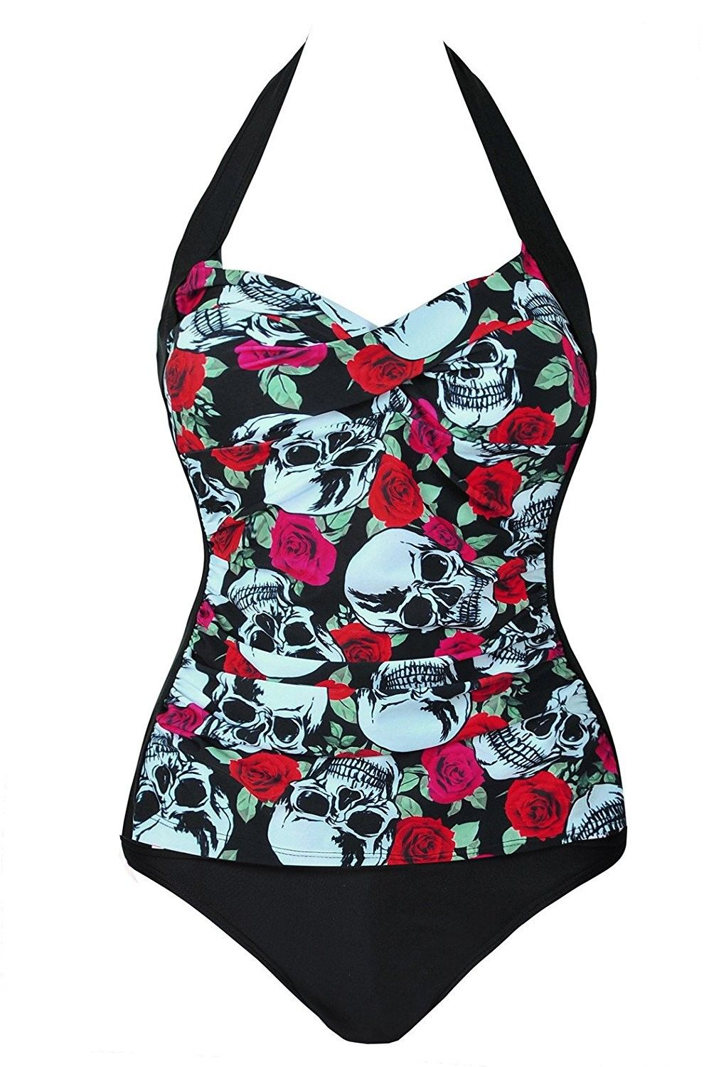 276d3cfc640 Womens Retro Skull Monokinis One Piece Ruched Swimsuit - Red - CX17Y4A4TY6,Women's  Clothing, Swimsuits & Cover Ups, Bikinis, Sets #women #clothing #fashion ...