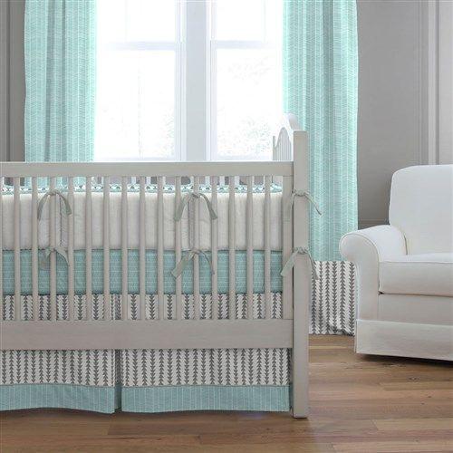 Crib Dust Ruffle In Gray And Aqua Arrow Stripe By Carousel Designs