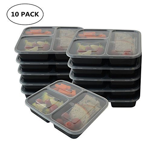 10 Pack 2 Compartment Microwavable Food Container//Lunch Tray with Cover PBA free