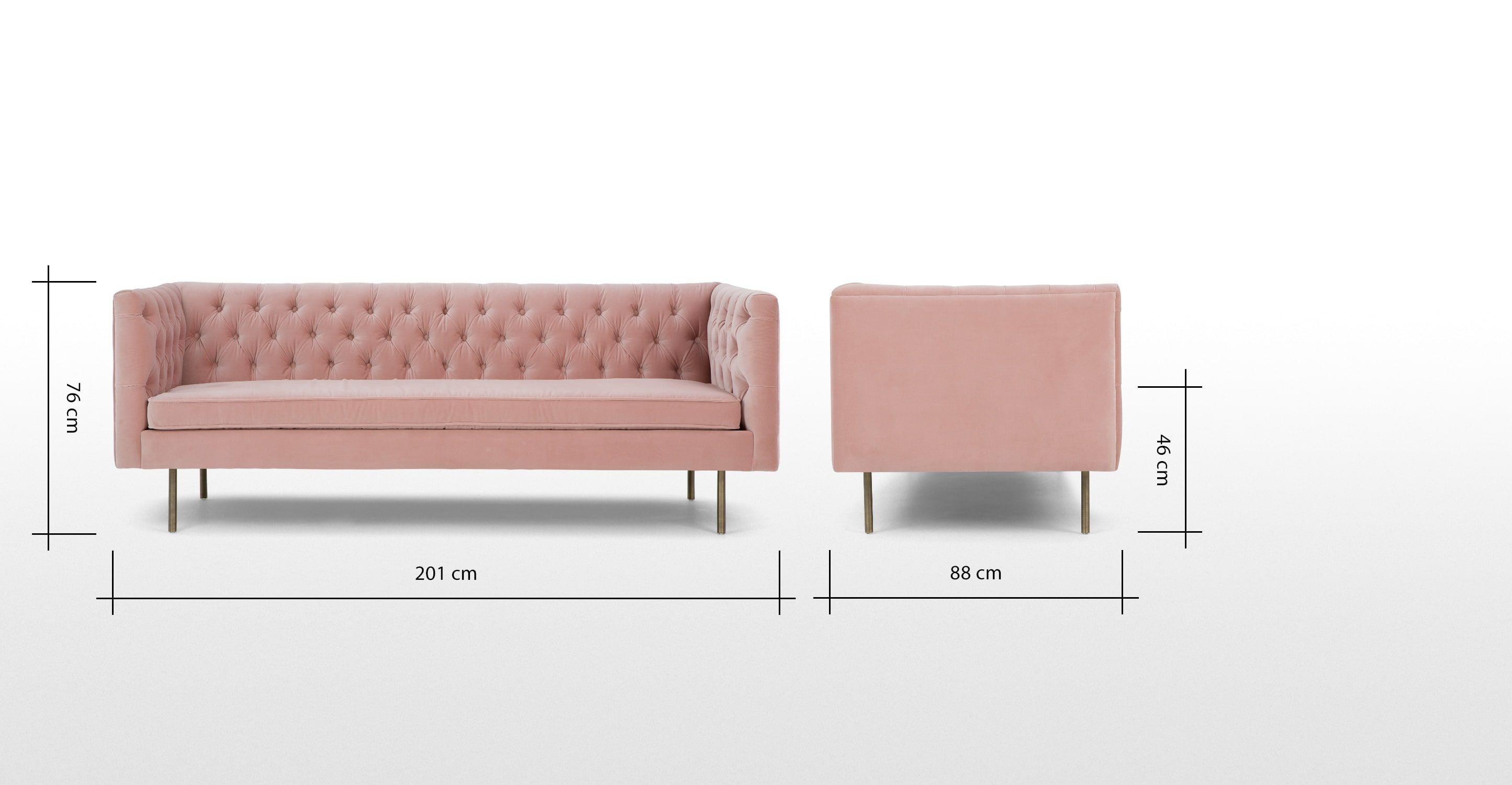 Julianne 3 Seater Sofa Blush Pink Cotton Velvet Pink Sofa Bed Pink Sofa Sofa Bed Uk