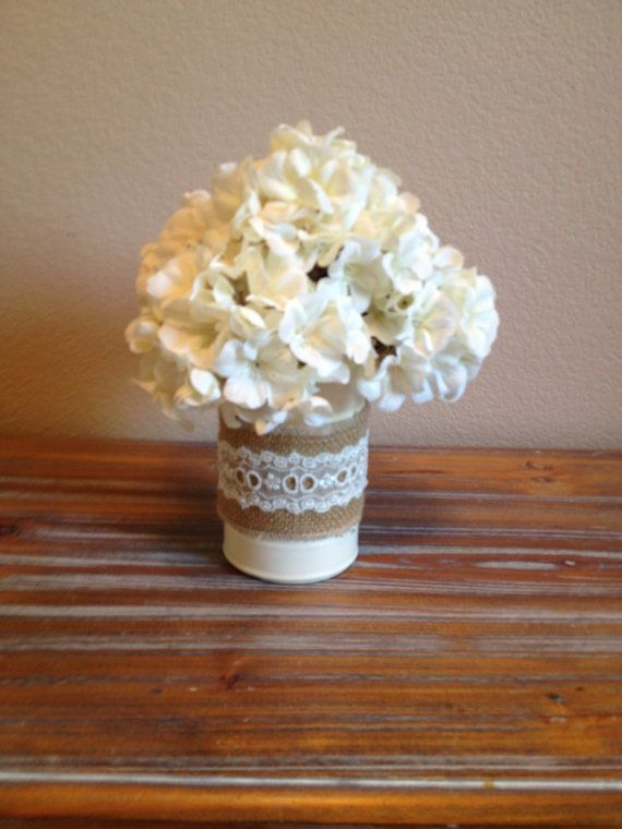 Shabby Chic Ivory Burlap Flower Tin Vase by TinCanBoutique on Etsy, $7.00